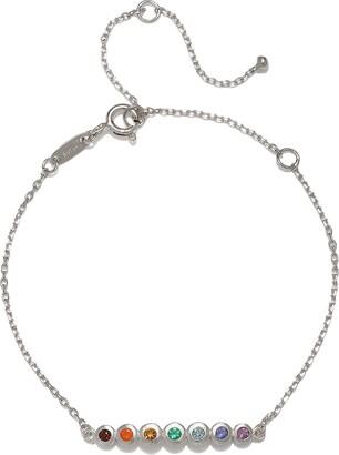 Satya Jewelry Multi Gemstone Silver Chakra Bracelet One Size