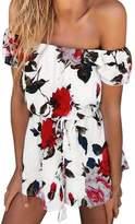 Flank Women Summer Beach Floral Prints Jumpsuit Clubwear Bodycon Playsuit Romper (XL)