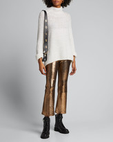 Sprwmn High-Waist Metallic Cropped Flare-Leg Leggings