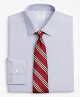 Brooks Brothers Stretch Milano Slim-Fit Dress Shirt, Non-Iron Poplin Ainsley Collar Fine Stripe