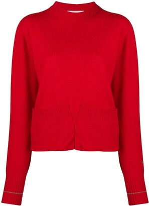 Victoria Beckham Pocket Detail Crew Neck Jumper
