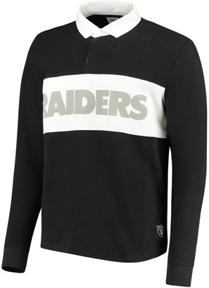 Levi's Men's Black Oakland Raiders Rugby Long Sleeve Polo