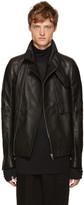 Rick Owens Black Leather Trench Bomber Jacket