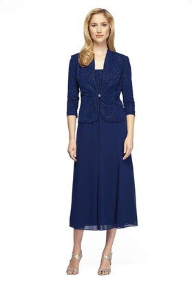 Alex Evenings Women's Petite 3/4 Sleeve Long Jacket Dress