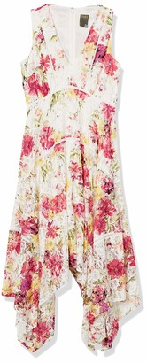 Taylor Dresses Women's Sleeveless Asymmetric Hem Floral Lace Dress