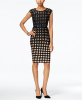 Connected Belted Cap-Sleeve Sheath Dress