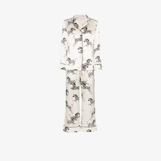 Olivia von Halle Lila zebra print silk pyjama set