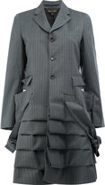 Comme des Garcons pinstripe gathered effect coat - women - Polyester/Wool - XS