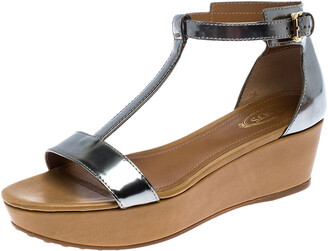 Tod's Metallic Silver Leather T-Strap Wedge Platform Ankle Strap Sandals Size 37.5