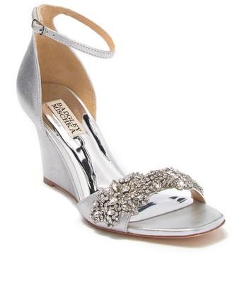 Badgley Mischka Aliyah Embellished Ankle Strap Wedge Sandal