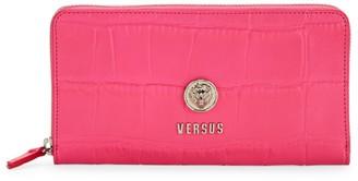 Versace Logo Croc-Embossed Leather Zip-Around Wallet