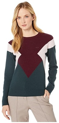 Lacoste Long Sleeve Color-Block Jersey Sweater (Sinople/Eggplant/Flamingo) Women's Clothing