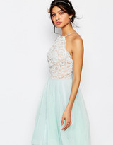 Jarlo Petite High Neck Lace Top Prom Skater Dress With Tulle Skirt