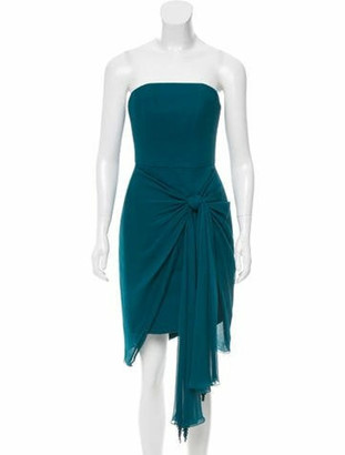 Jason Wu Silk Knot-Accented Dress Teal