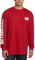 Caterpillar Men's Big and Tall Trademark Banner Long Sleeve T-Shirt, Heather Grey