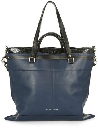 Proenza Schouler Large PS19 Snakeskin-Trimmed Leather Tote