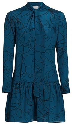 Akris Punto Printed Mulberry Silk Tieneck Dress