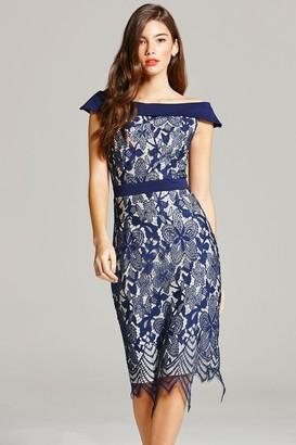 Little Mistress Navy Lace Bardot Midi Dress