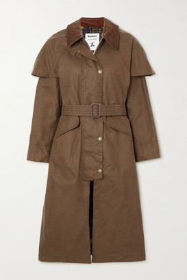 Barbour + Alexachung Trudie Corduroy-trimmed Waxed-cotton Trench Coat - Tan