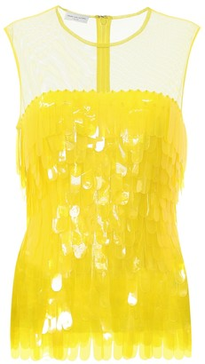 Dries Van Noten Paillette-trimmed mesh top