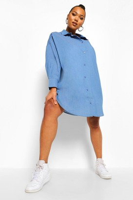 boohoo Plus Oversized Chambray Boyfriend Shirt Dress