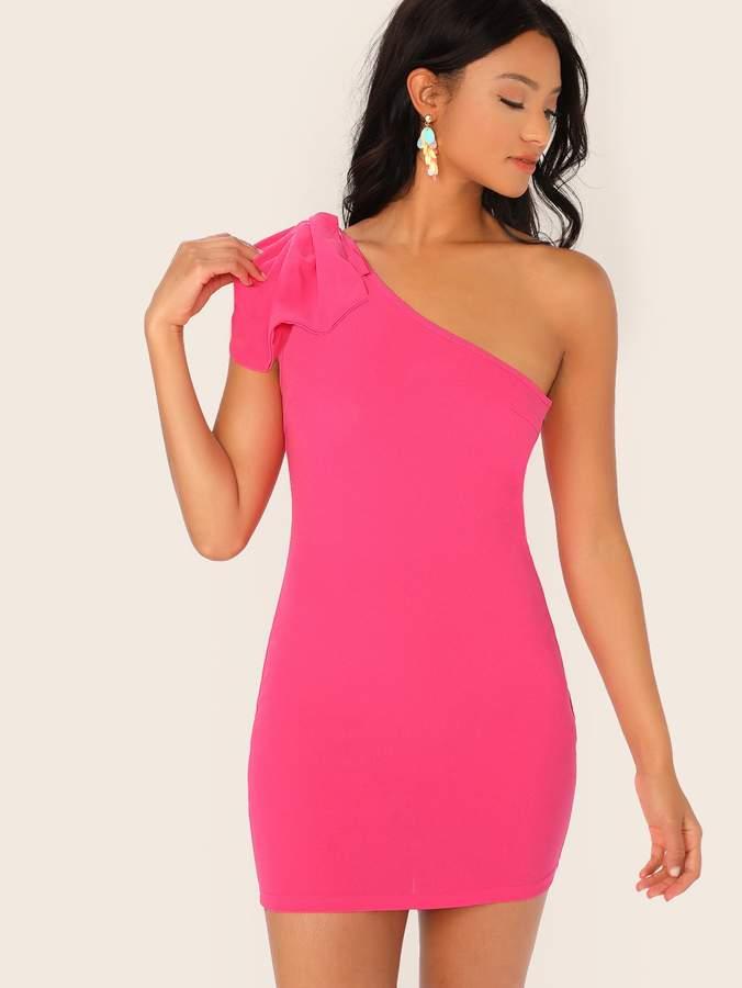 a707894564a One Shoulder Bow Dress - ShopStyle
