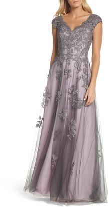 La Femme Embellished Mesh A-Line Gown