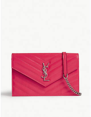 Saint Laurent Neon monogram quilted leather wallet-on-chain