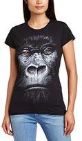 Printed Wardrobe Women's Big Face Animal Gorilla Crew Neck Short Sleeve T-Shirt,(Manufacturer Size:Large)