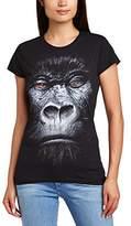 Printed Wardrobe Women's Big Face Animal Gorilla Crew Neck Short Sleeve T-Shirt,(Manufacturer Size:Medium)