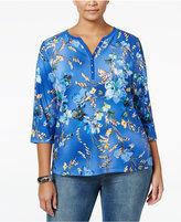 Karen Scott Plus Size Printed Henley Top, Only at Macy's