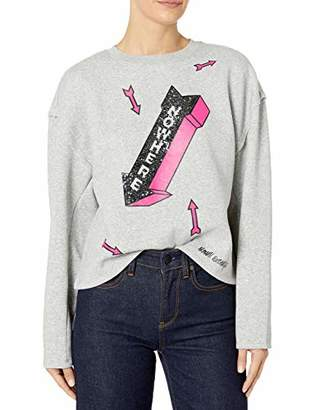 Armani Exchange A|X Women's Long Sleeved Pull Over Sweater with Sparkle Nowhere Arrows