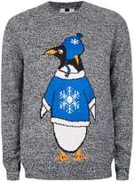 Topman Black And White Twist Penguin Christmas Jumper