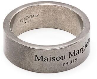 Maison Margiela Distressed-Effect Logo-Engraved Ring