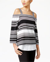NY Collection Cold-Shoulder Layered-Look Top