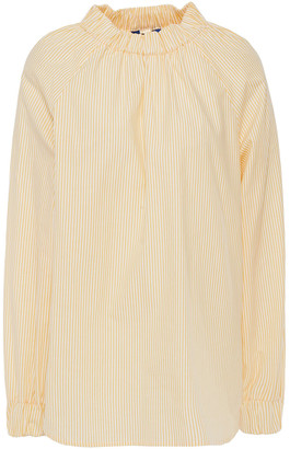 Sjyp Gathered Striped Cotton-poplin Blouse