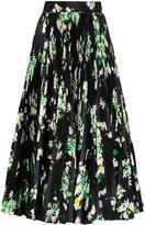 Richard Quinn High-Waisted Floral Print Midi Skirt