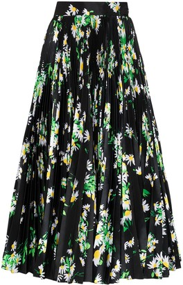 Richard Quinn High-Waisted Floral Print Midi Skirt