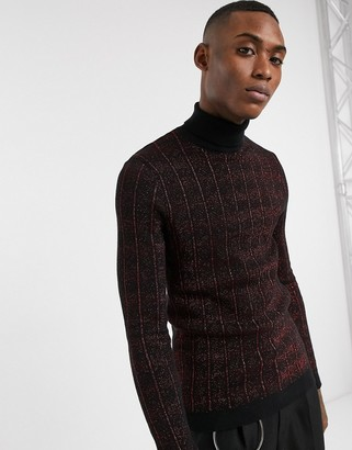 Asos Edition EDITION muscle fit sweater in metallic red cable design and roll neck