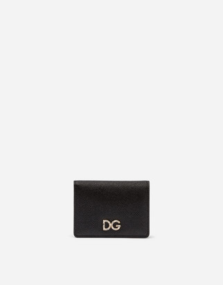 Dolce & Gabbana Card Holder In Laminate Dauphine Calfskin With Logo Crystals