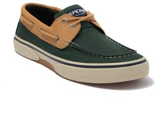 Sperry Halyard 2 Eye Leather Canvas Slip On Boat Shoe