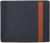 Valextra Navy and Orange Stripe 6cc Bifold Wallet