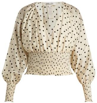 Diane von Furstenberg Polka-dot Silk Blouse - Cream Print