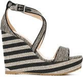 Jimmy Choo Portia 120 sandals - women - Leather/Metallic Fibre/Canvas/rubber - 36.5