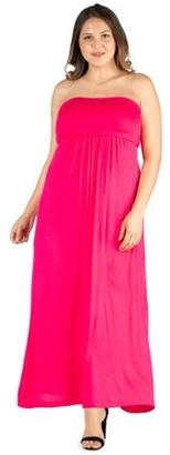 24/7 Comfort Womens Plus Size Strapless Maxi Dress