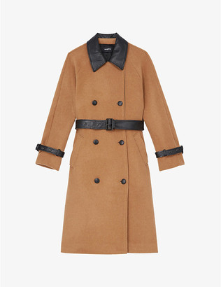 The Kooples Leather-trim double-breasted wool-blend coat