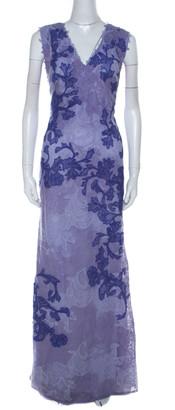 Tadashi Shoji Purple Lace Sleeveless Emma Gown L