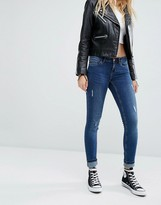 Noisy May Eve Low Rise Super Skinny Jeans with Abrasions