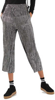 Topshop Metallic Stripe Plisse Trousers