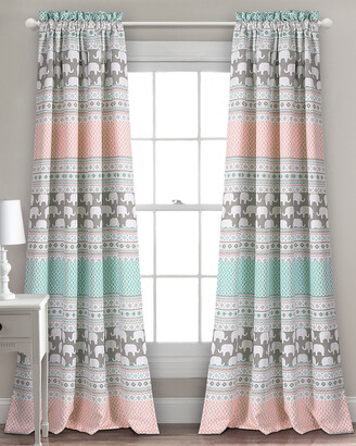 Triangle Home Fashion Elephant Stripe Room Darkening Window Curtain Panels
